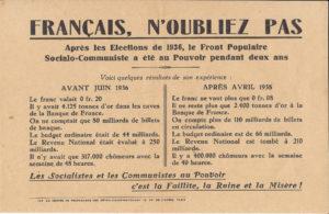 Papillon du Centre de propagande des Républicains-Nationaux (1938) © IHS CGT Métaux
