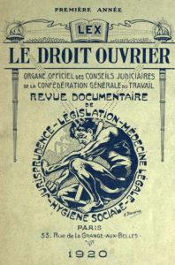 Le 1er numéro du Droit Ouvrier, mensuel juridique de la CGT (1920)