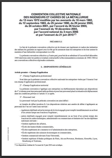 convention collective nationale des ingénieurs et cadres de la métallurgie