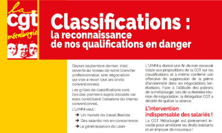 TRACT | Classifications : la reconnaissance  de nos qualifications en danger