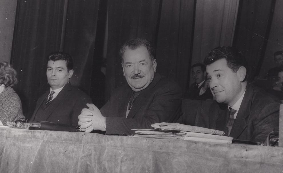 Jean Labourdette, Benoît Frachon et Pierre Gensous au congrès fédéral de 1963 à Ivry-sur-Seine © coll. IHS CGT Métaux