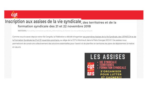 Inscription aux assises de la vie syndicale, des territoires et de la formation syndicale des 21 et 22 novembre 2018