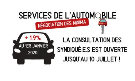 services auto : avenant rémunérations 2020