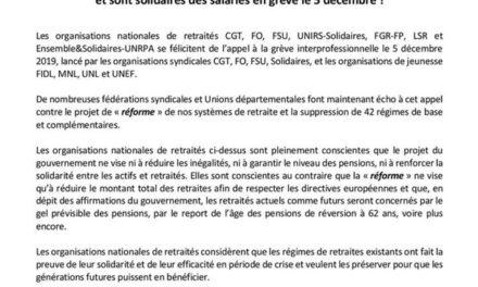 déclaration des 9 organisations retraites pour le 5 décembre