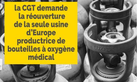 Luxfer: La CGT mobilisée pour la réouverture dela seule usine d'Europe à produire des bouteilles d'oxygène médical fermée
