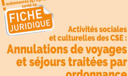 Fiche juridique | Activités sociales et culturelles des CSE: les annulations de voyages et séjours traitées par ordonnance