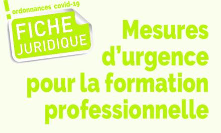 Fiche juridique | mesures d'urgence pour la formation professionnelle