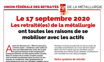17 septembre : les retraités mobilisés !