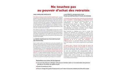 Pétition : ne touchez pas au pouvoir d'achat des retraités !